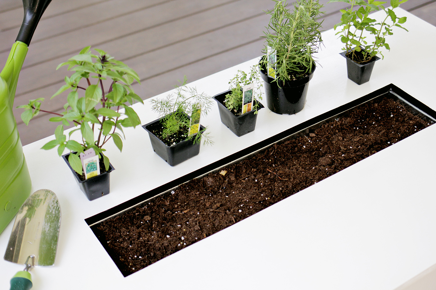 Herb garden coffee table -planting supplies (click for more details)