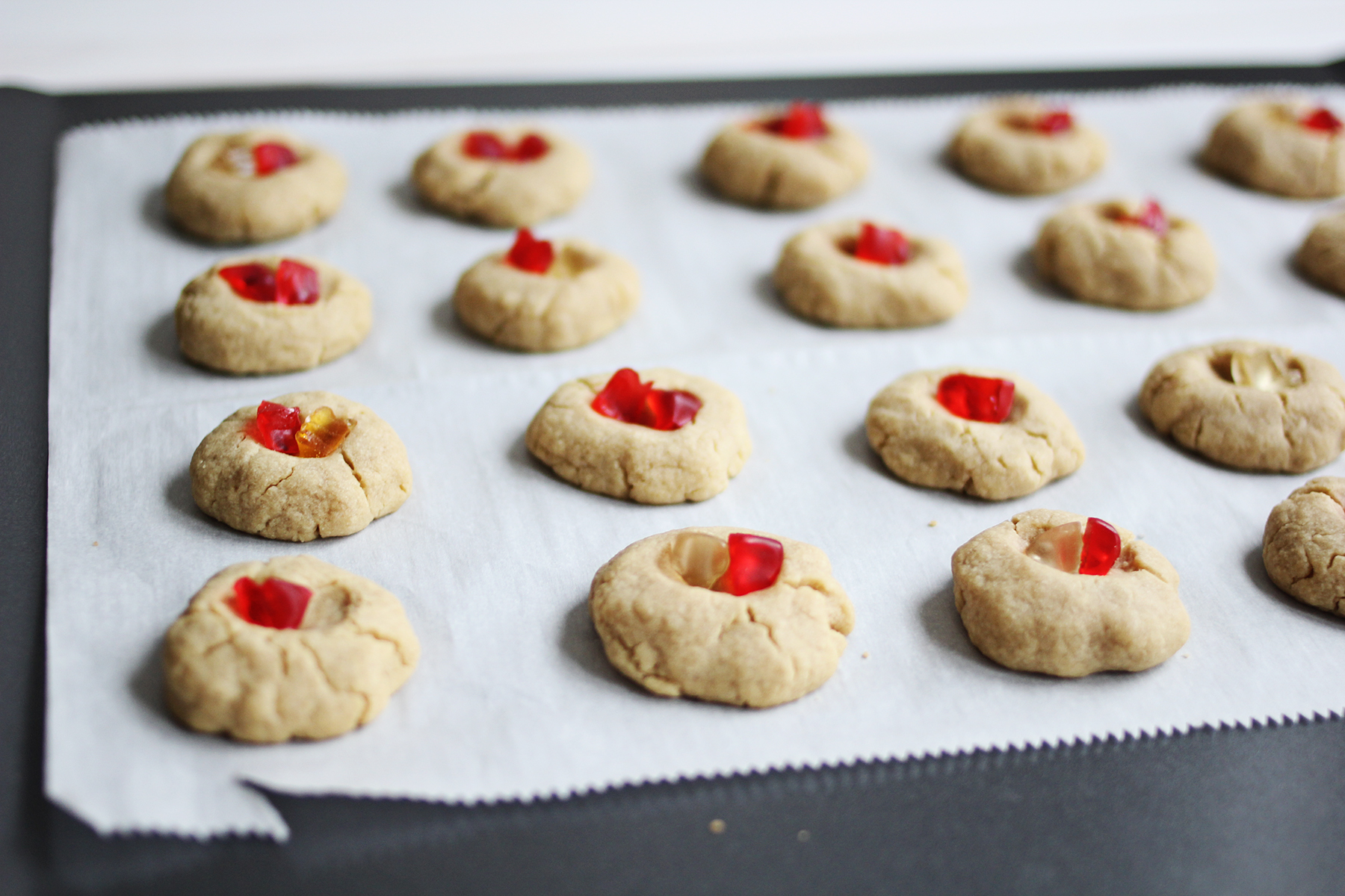 Gummy bear thumb print cookies