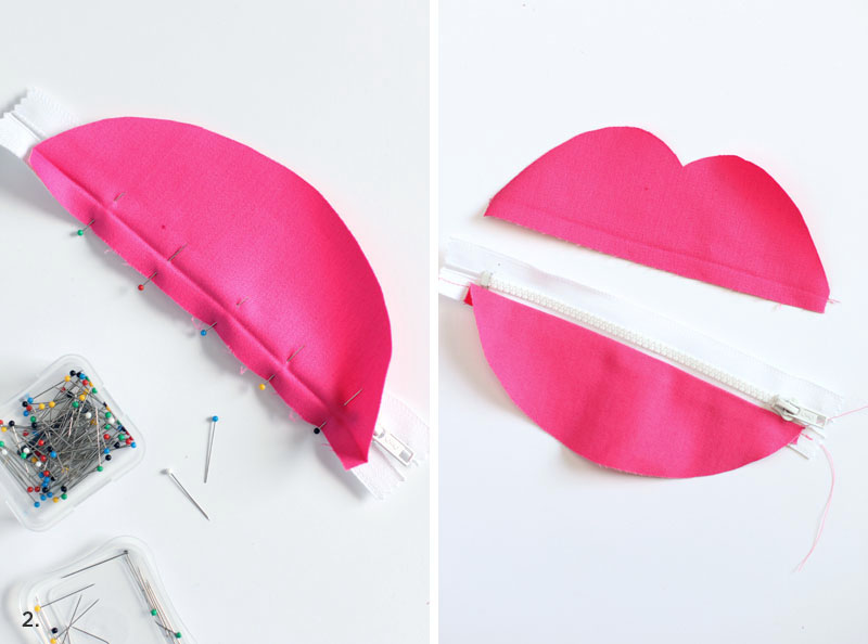 Make this zipped lips pouch for stashing secret things in your purse! Click through for pattern + instructions.
