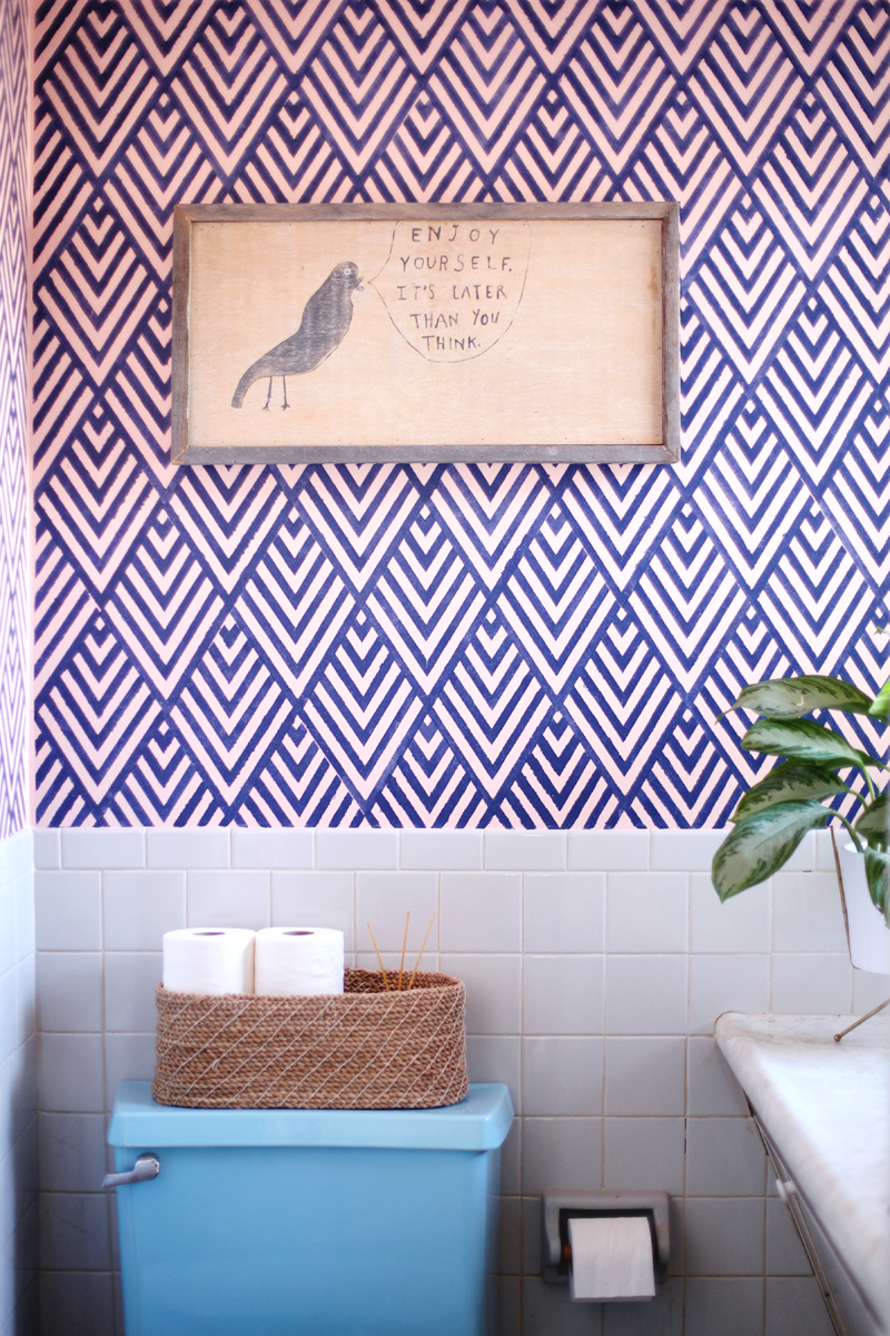 Create A Wallpaper Look With A Geometric Stencil A Beautiful Mess