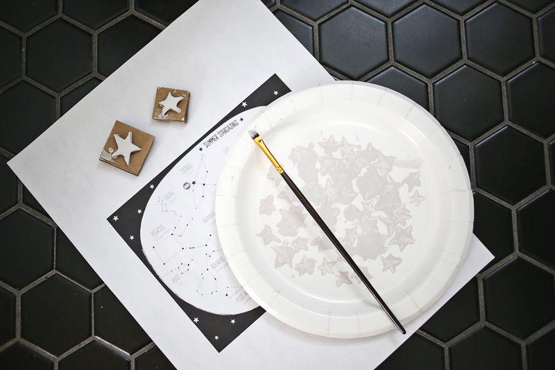 Hand Printed Galaxy Wall abeautifulmess.com