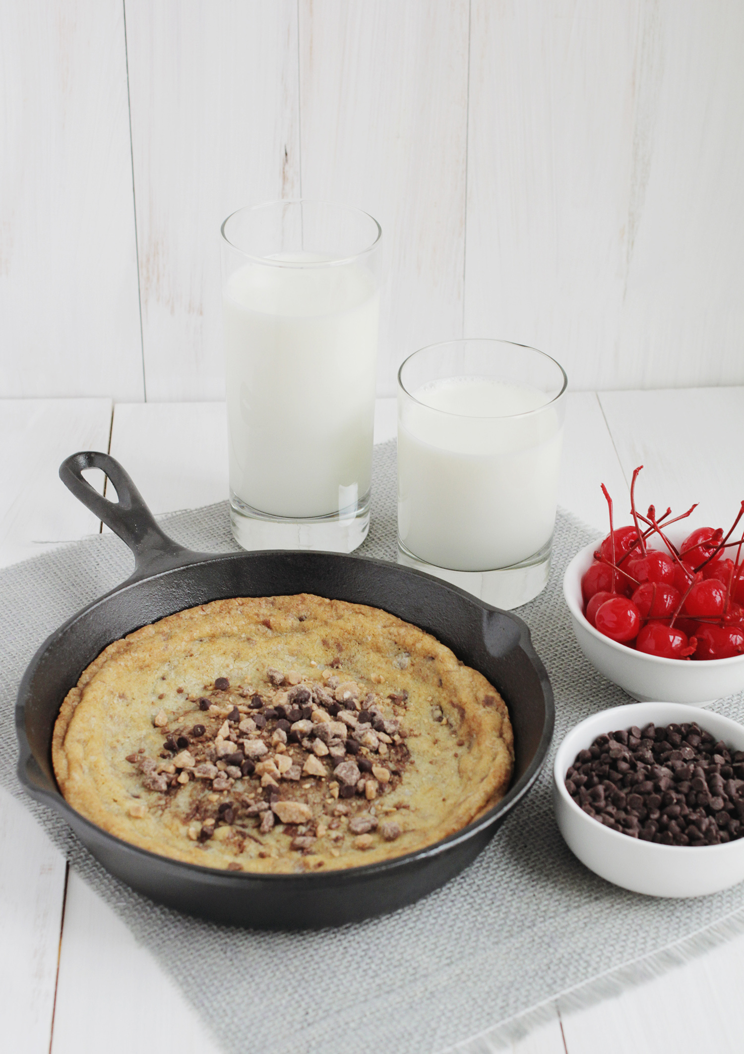 Homemade skillet cookie (click through for recipe)