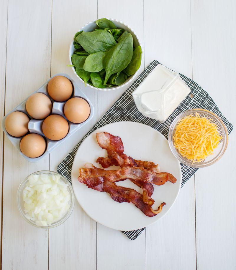 Deep Dish Bacon Spinach Quiche abeautifulmess.com