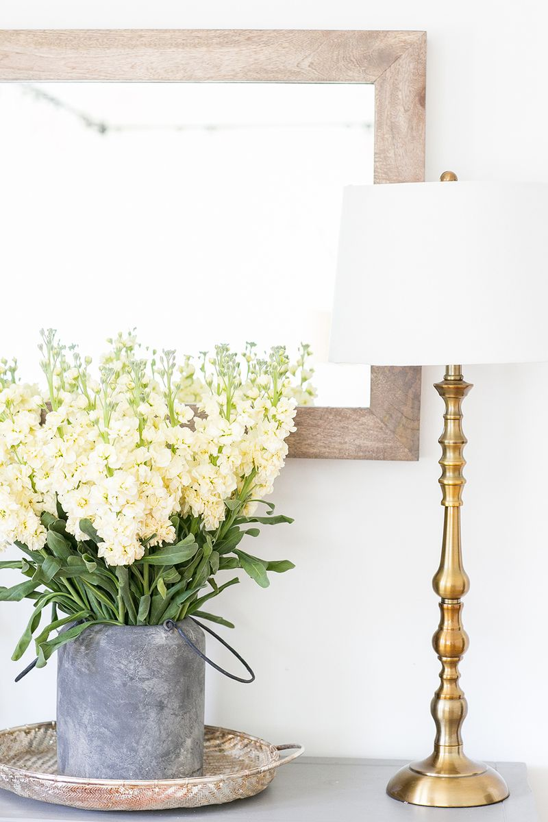 Fresh flowers and gold accents