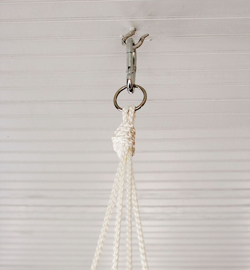 Attach Your Swing To A Heavy Duty Hook That Has Been Ed Into Beam Or Clip It Onto Another Sy Rope Tied Around Tree Trunk
