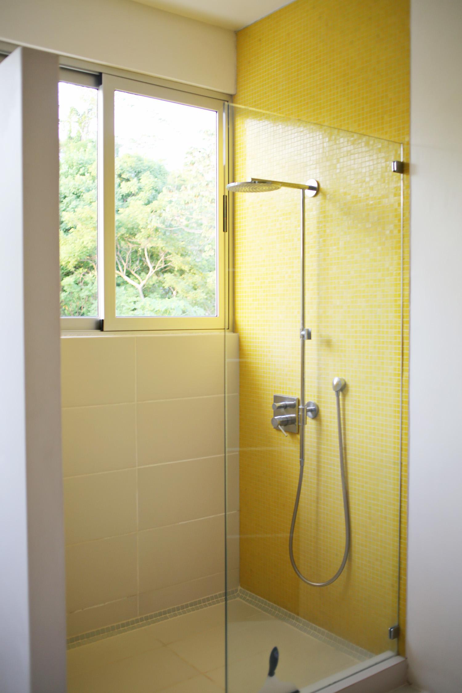 Yellow bathroom shower