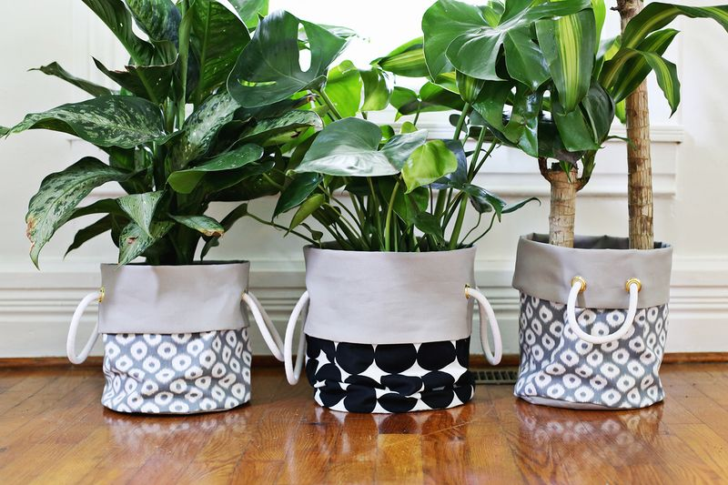 Fabric planter diy a beautiful mess - Cloth cement plant pots ...