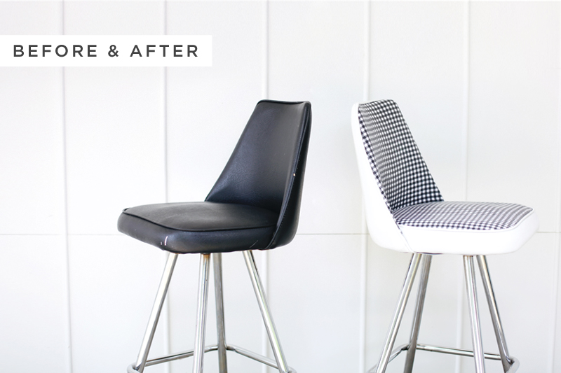 give an old vinyl chair a facelift click through for makeover details. Black Bedroom Furniture Sets. Home Design Ideas