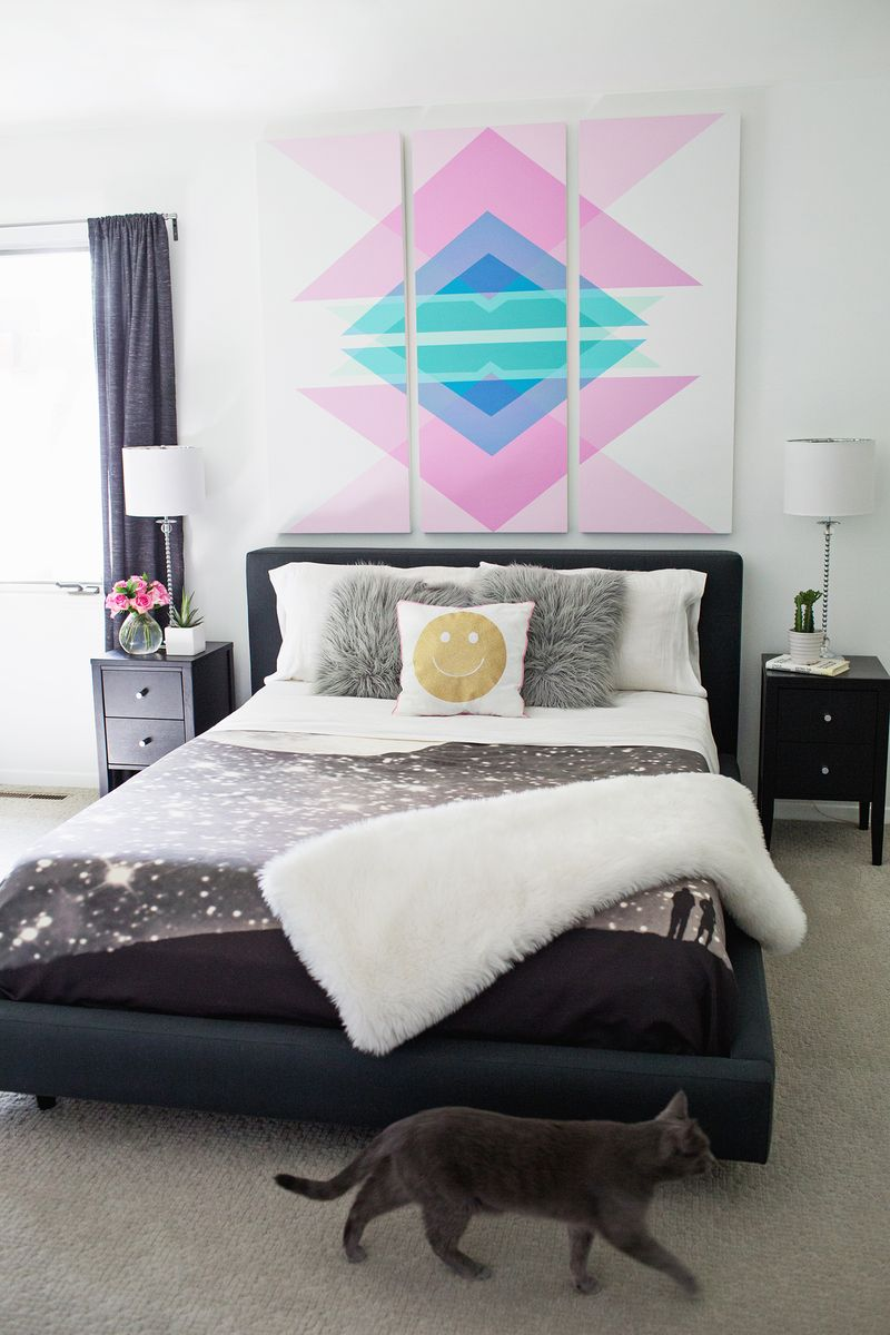 Geometric Art Headboard Panels (click through for tutorial)