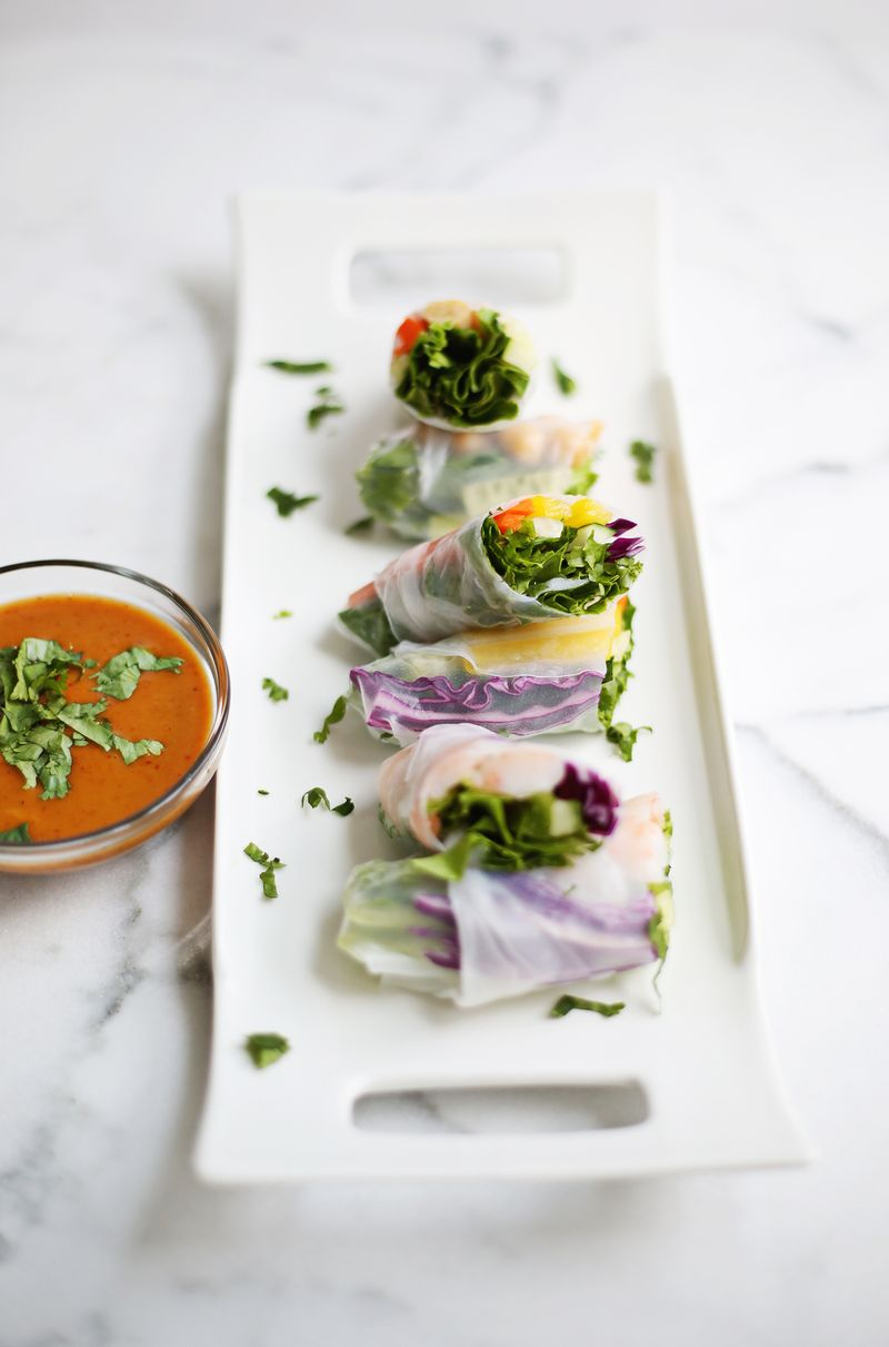 Fresh spring rolls with spicy peanut sauce (click through for recipe)