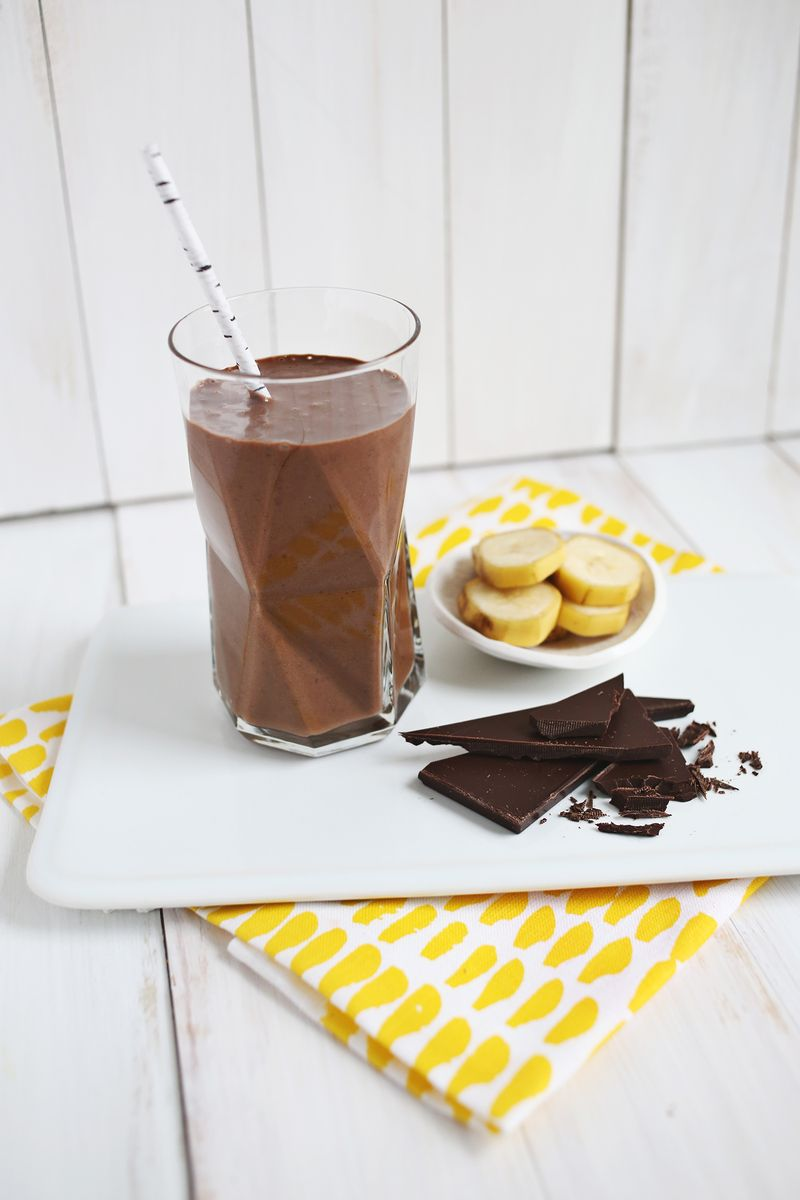 Healthy chocolate banana shake