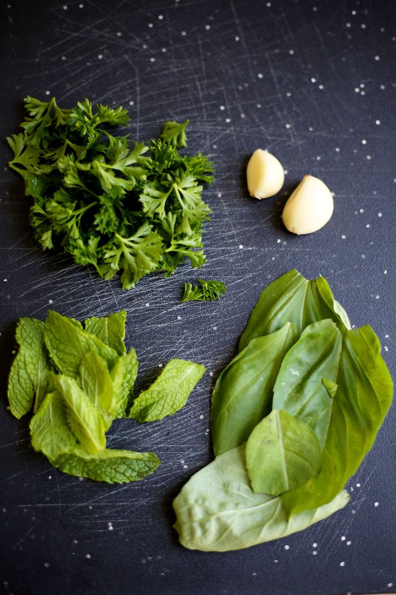 Fresh herbs and garlic