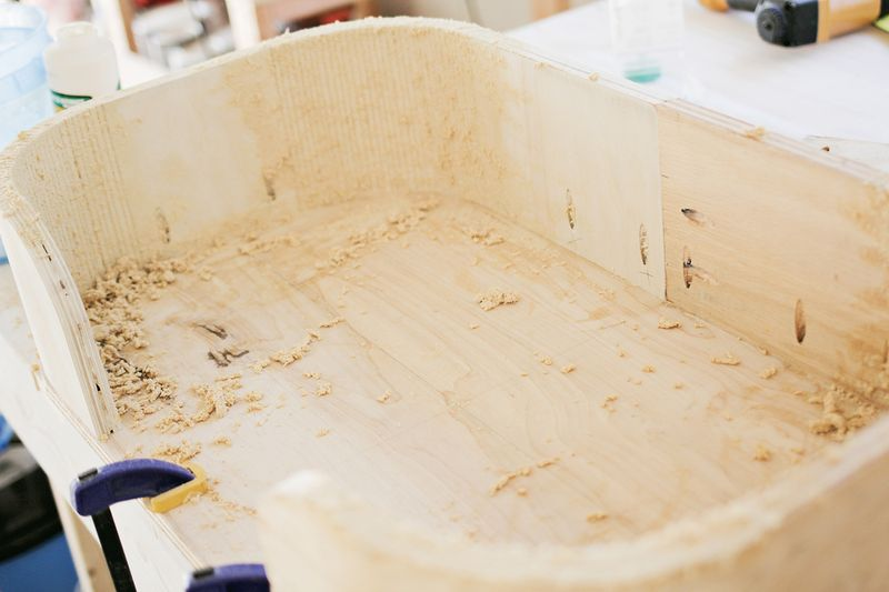 The Sadie bed - making slurry (how to make a modern pet bed. click for more)