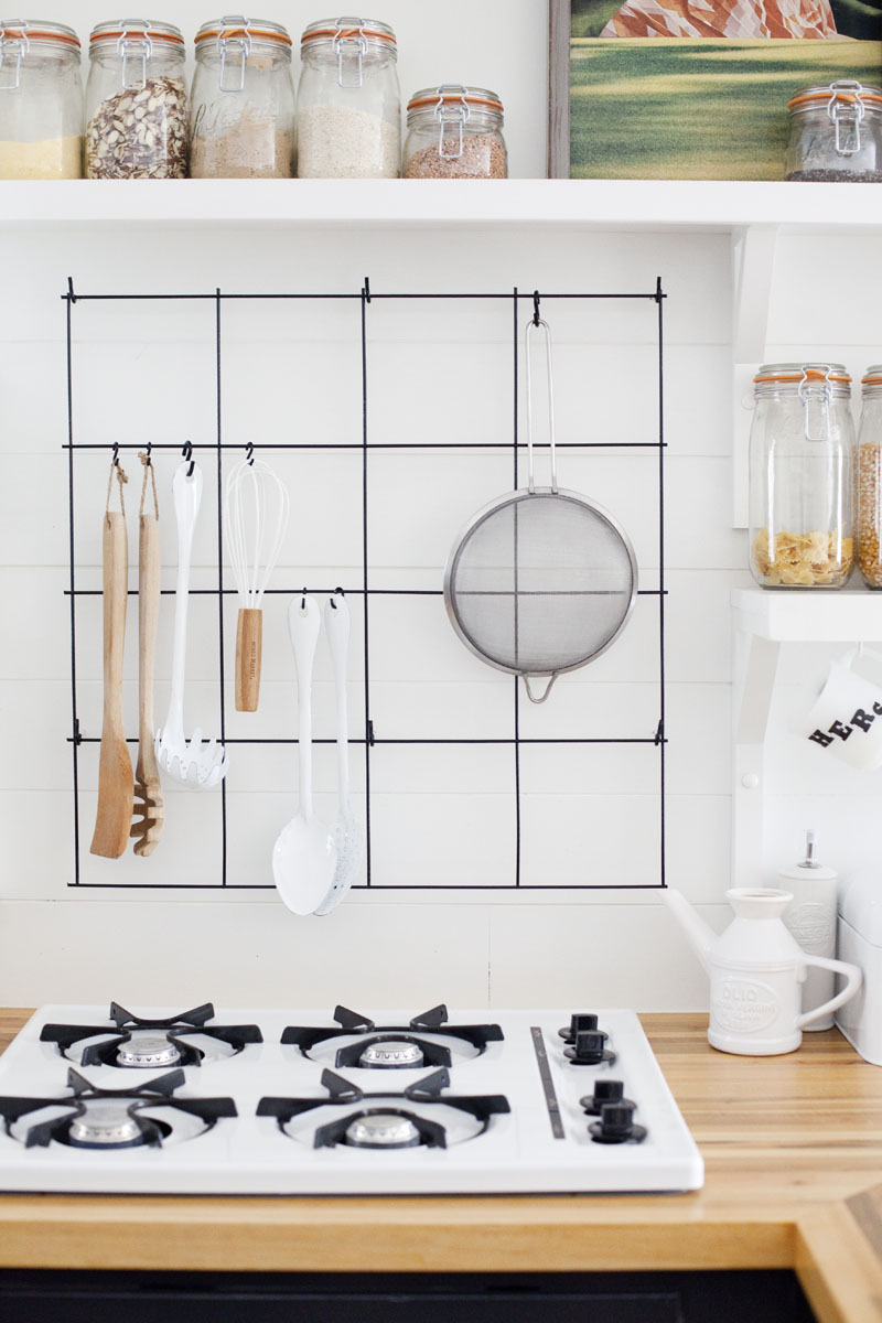 diy wire utensil rack – a beautiful mess - make a wire utensil rack with items found at the hardware store— clickthrough for