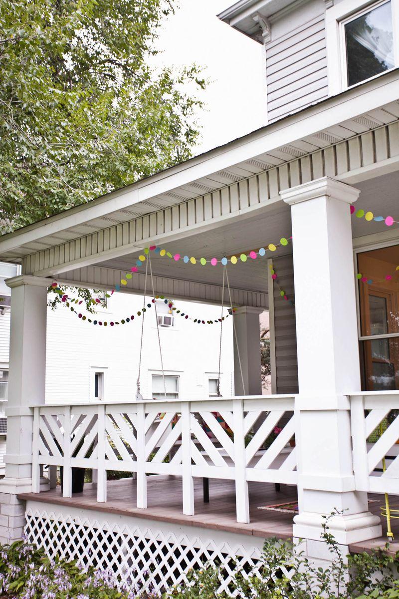 Our carefree housewarming decor a beautiful mess diy felt pillows diy front porch rail solutioingenieria Gallery