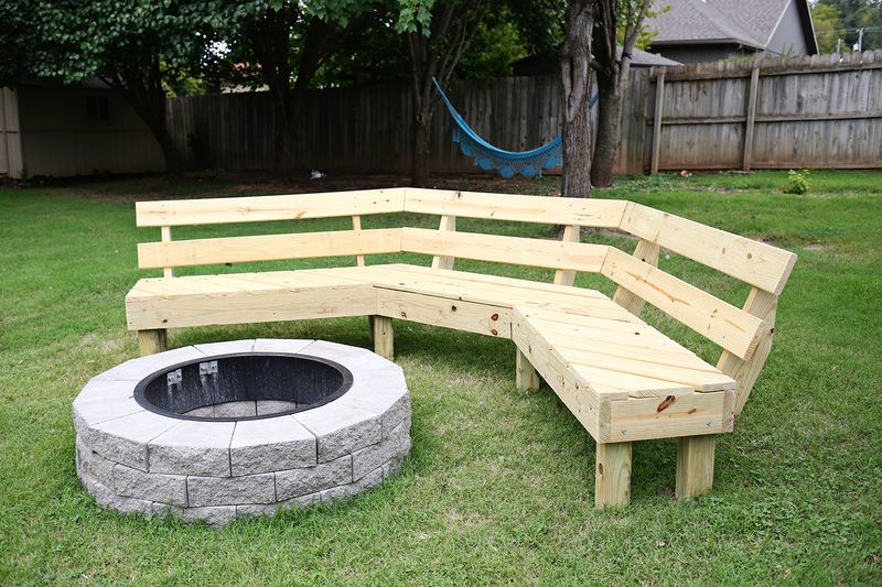 Build your own curved fire pit bench a beautiful mess Fire pit benches