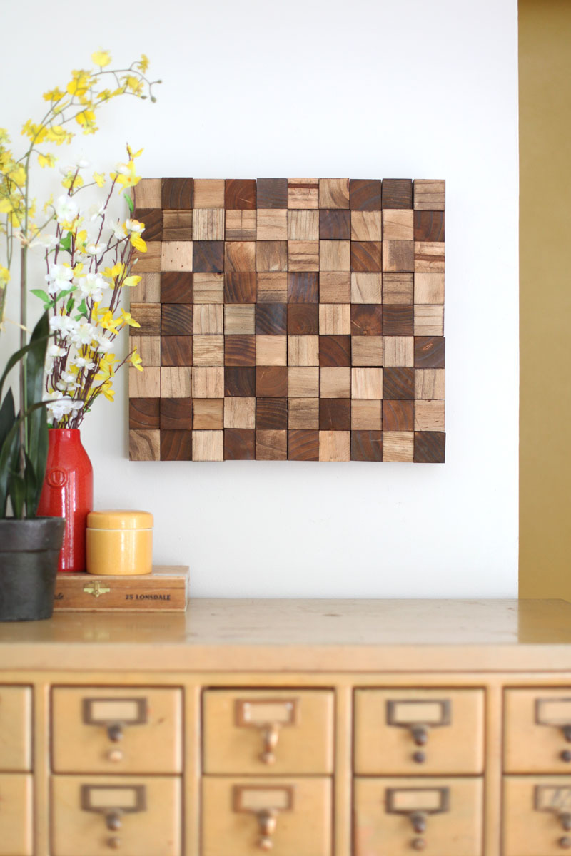 Create this wooden mosaic wall art