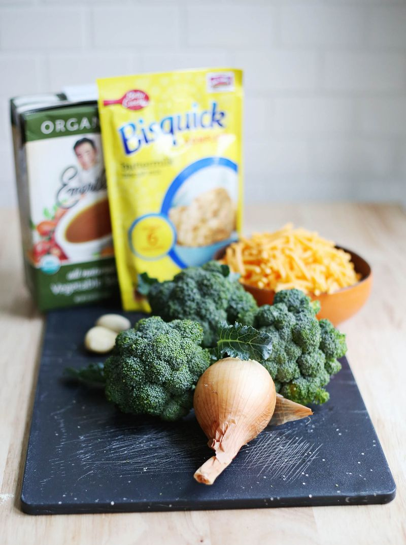 Ingredients for broccoli cheddar bake