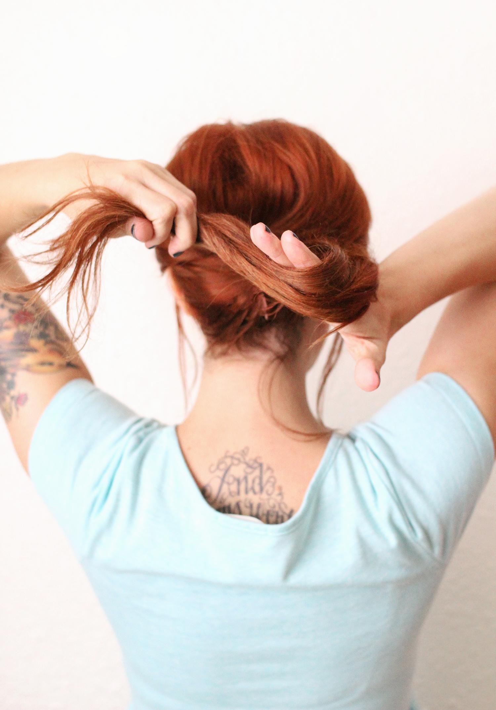 Take remaining hair and wrap around hand