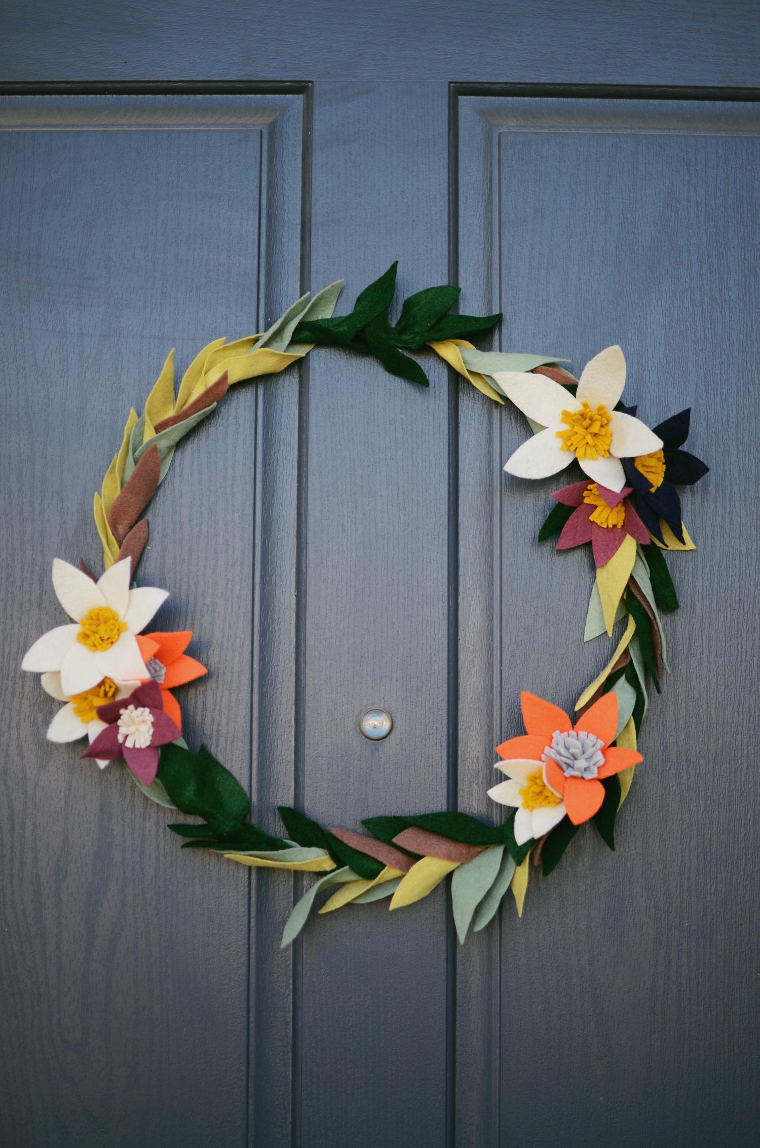 Felt flower wreath for door