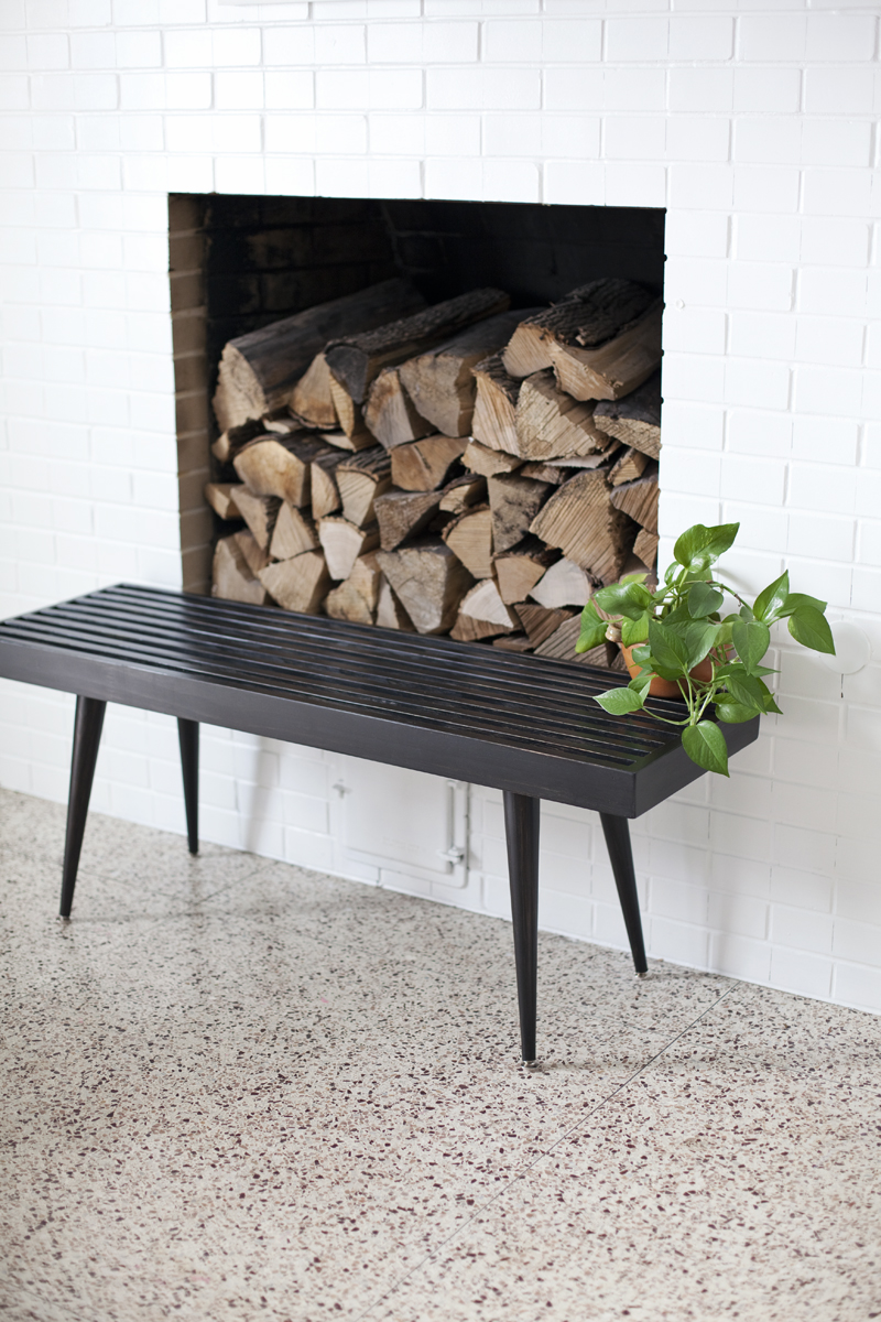 DIY slatwood bench with tapered legs