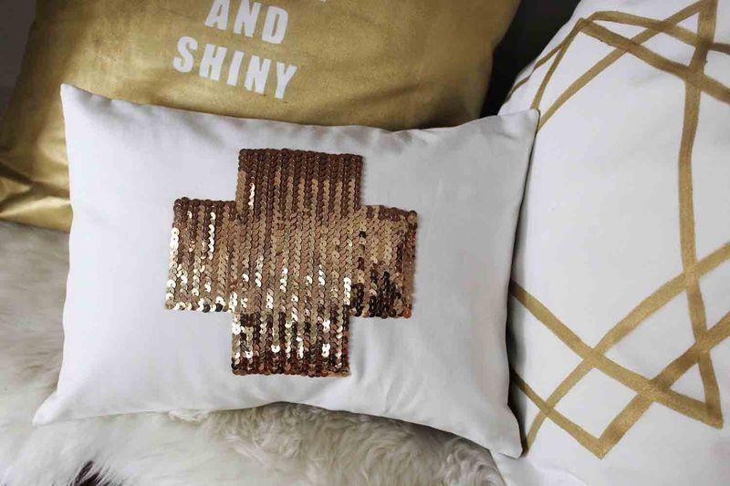 Swiss Cross Sequin Pillow