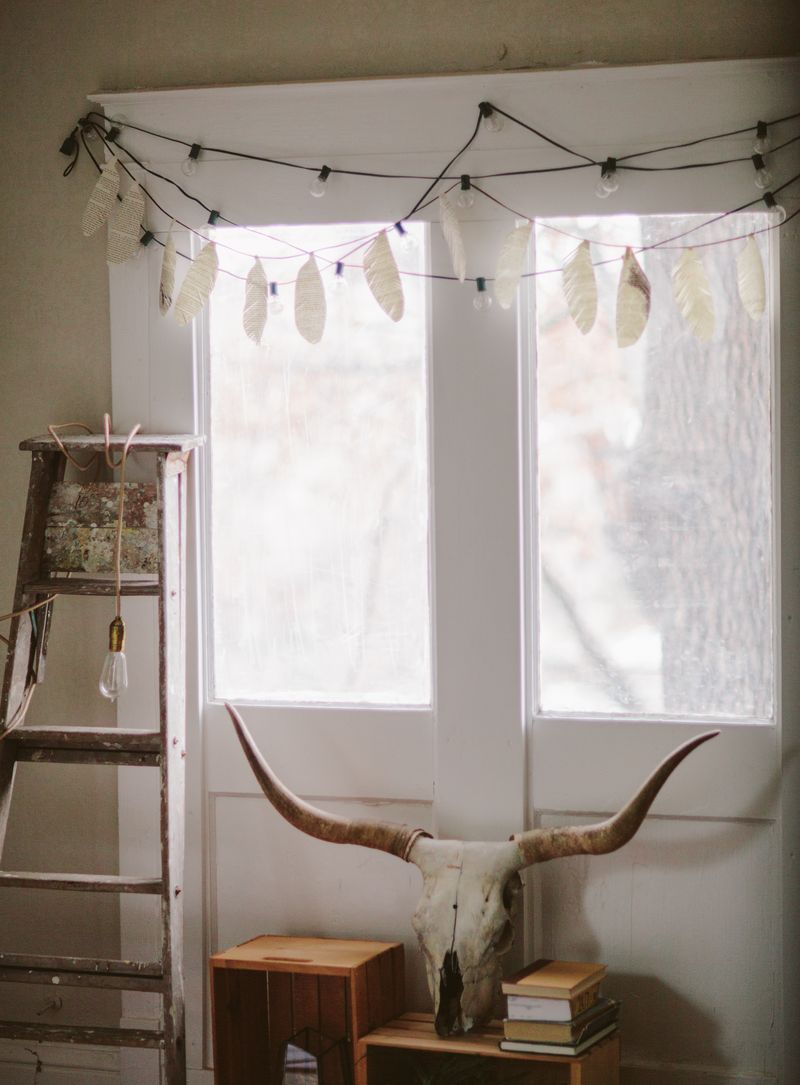 Feather garland skull decor ladder lamp bedroom decor