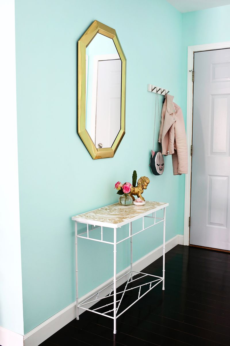 Project Restyle: Gold-Marbled Entryway Table - A Beautiful Mess