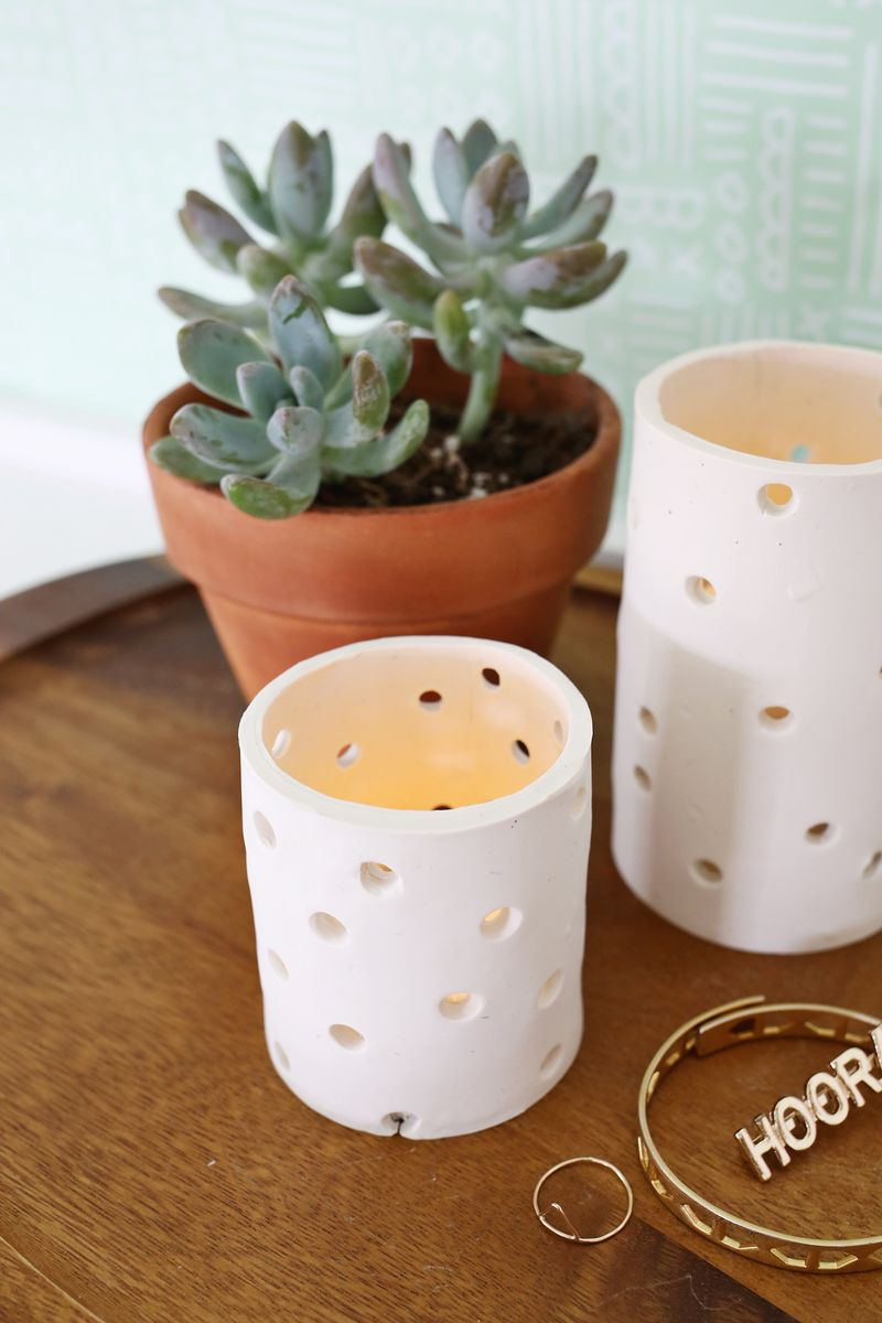Easy Clay Votive DIY - A Beautiful Mess