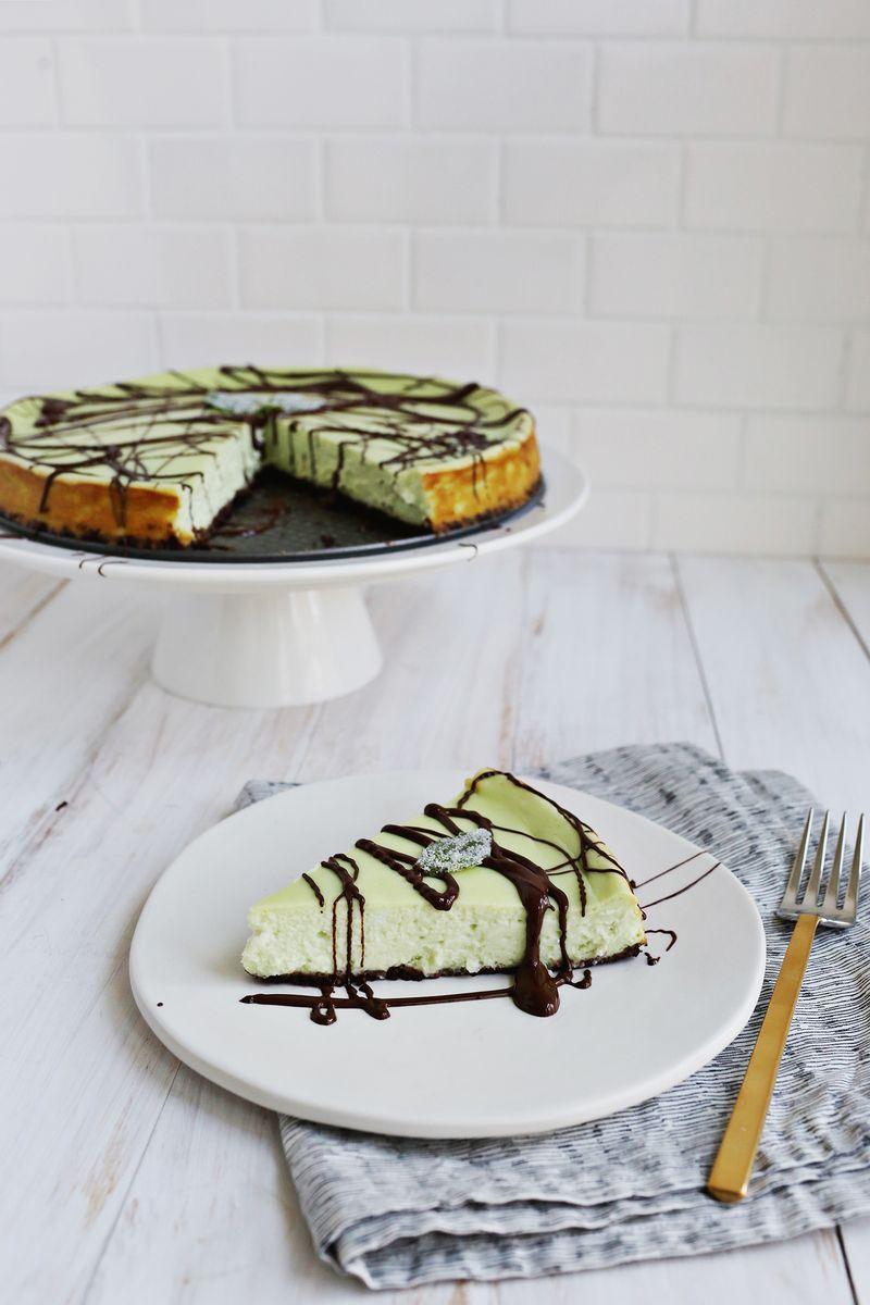 Basil Cheesecake with Chocolate Sauce (via abeautifulmess.com)