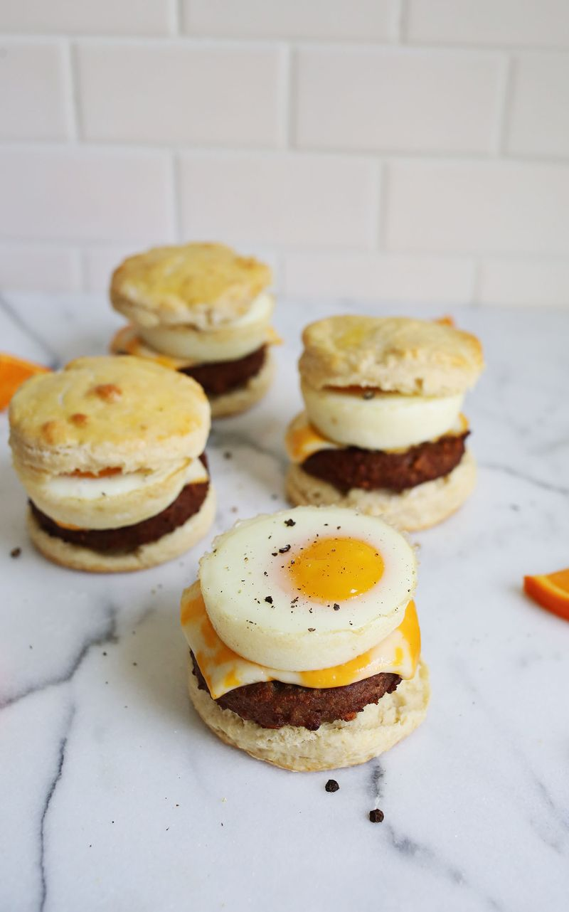 Buttermilk Biscuit Breakfast Sandwiches (via abeautifulmess.com)