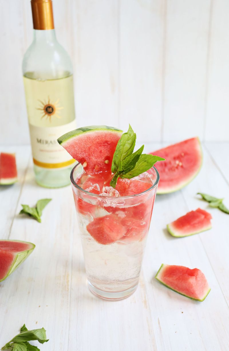 Watermelon and basil white wine spritzer