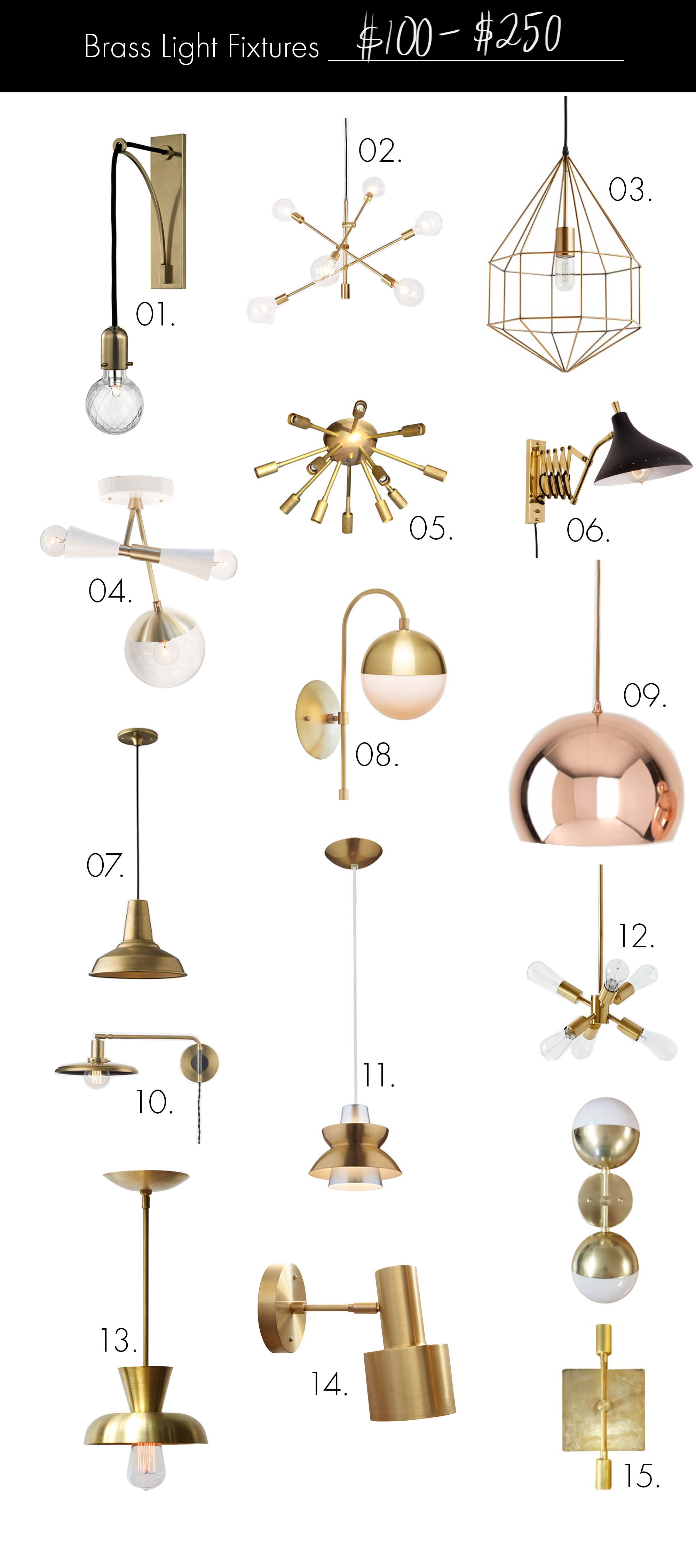 Brass Light Fixtures (on any budget!) $100-$250