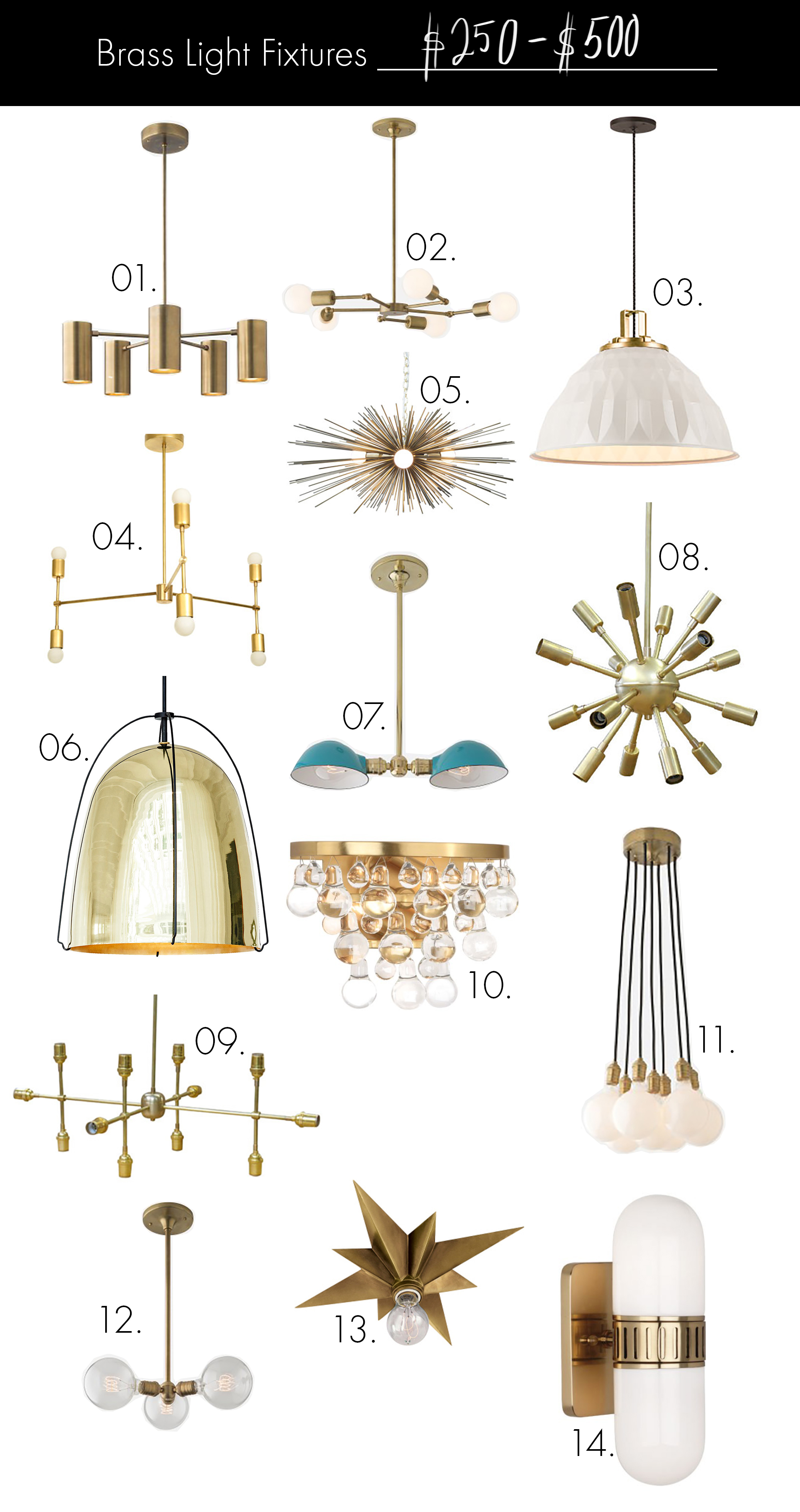 Brass Light Fixtures (on any budget!) $250-$500