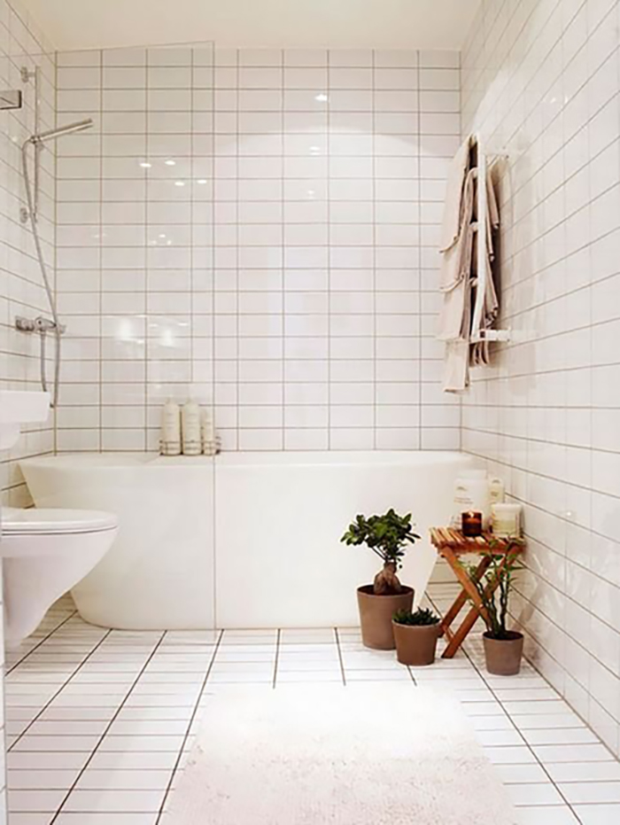 Stack bond subway tile