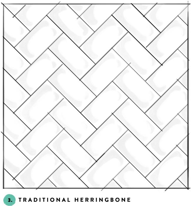 3 Traditional Herringbone Subway Tile