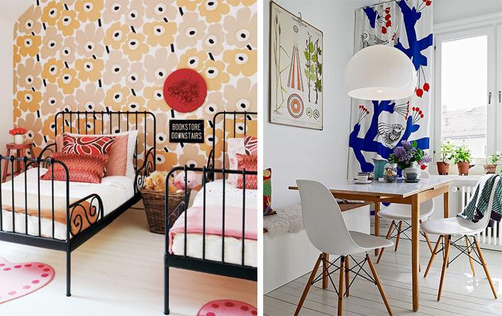Marimekko and Josef Frank patterns in interiors