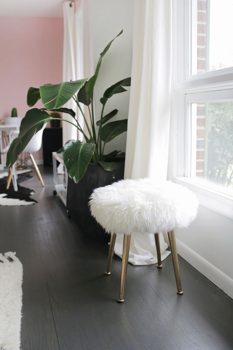 Super Make a Furry Stool (With Gold Legs) in Minutes! - A Beautiful Mess LE15