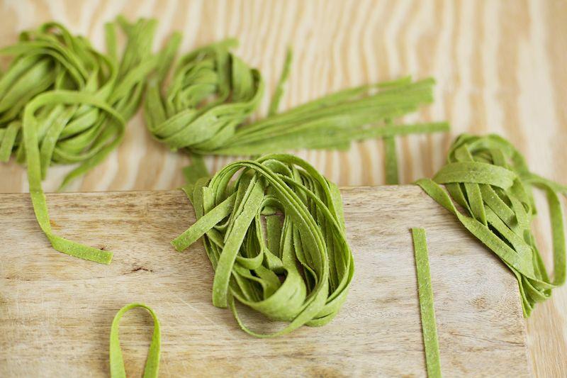 Homemade kale pasta