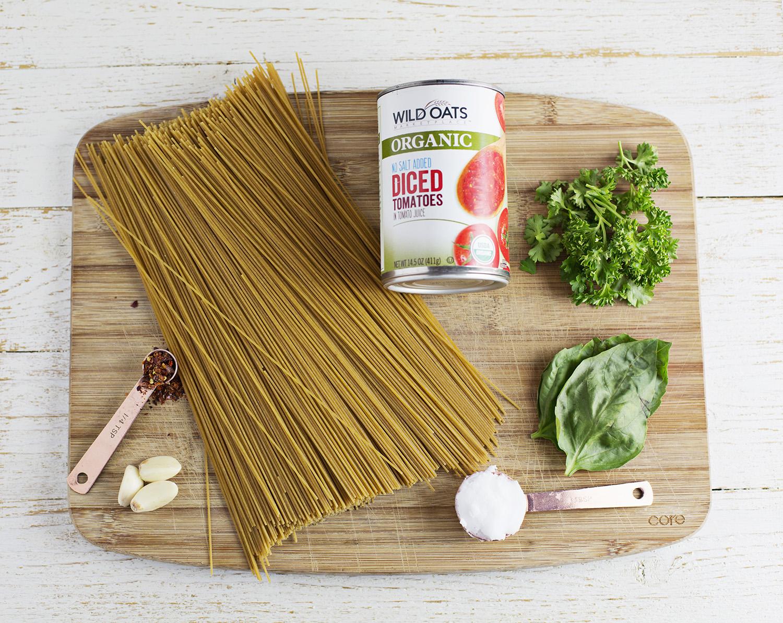 Ingredients for whole wheat one pot pasta (via abeautifulmess.com)