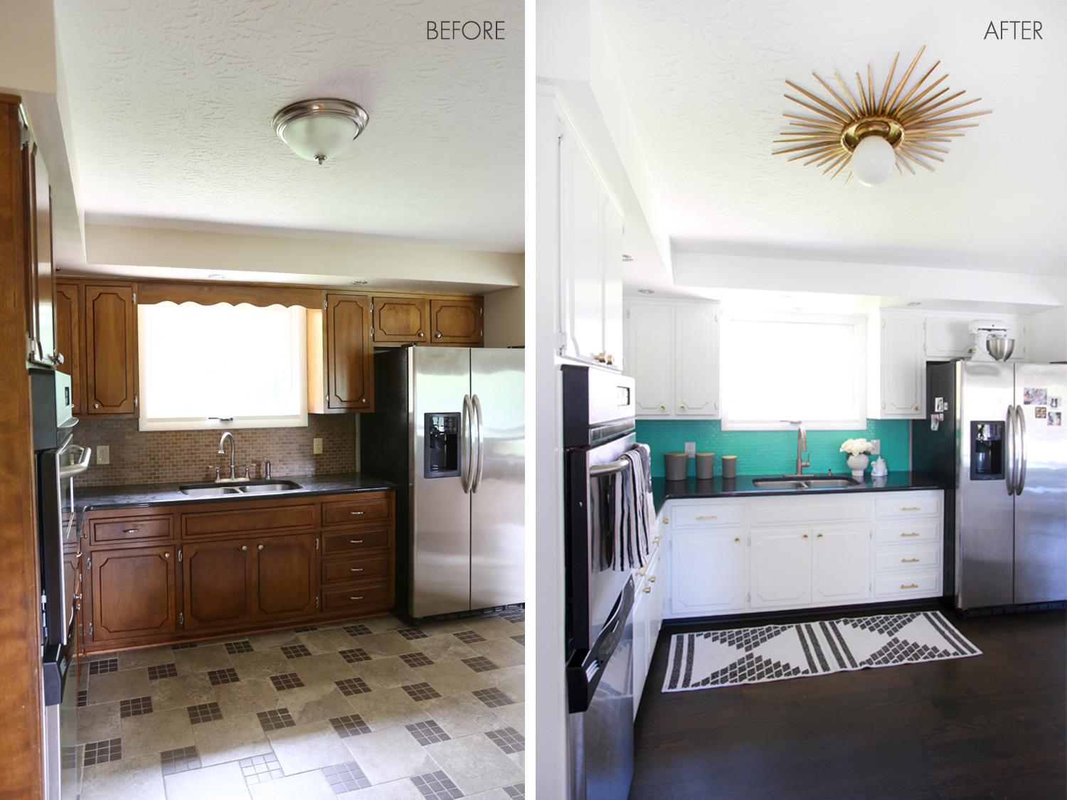Laura's kitchen before and after (click through to see more!)