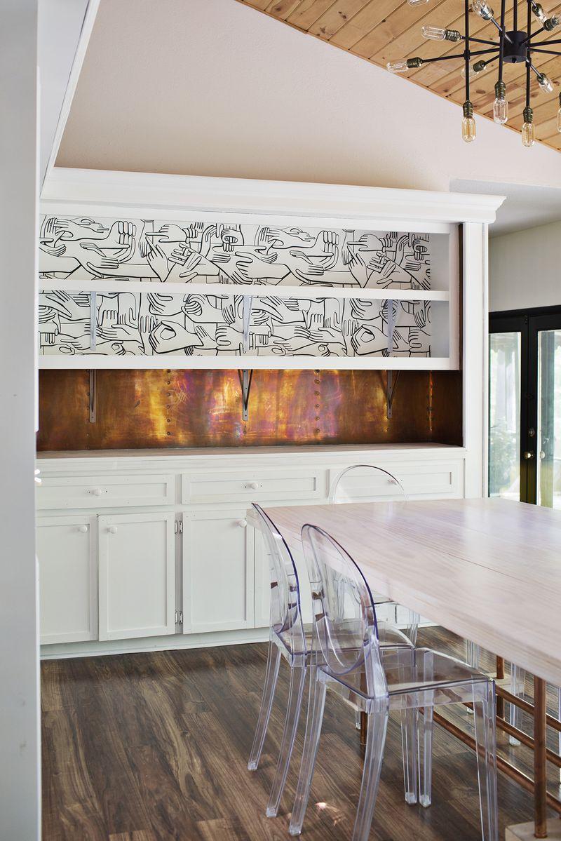 Wallpaper shelves (via abeautifulmess.com)