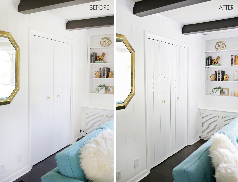 Add Geometric Panels to Your Plain Closet Doors – A Beautiful Mess