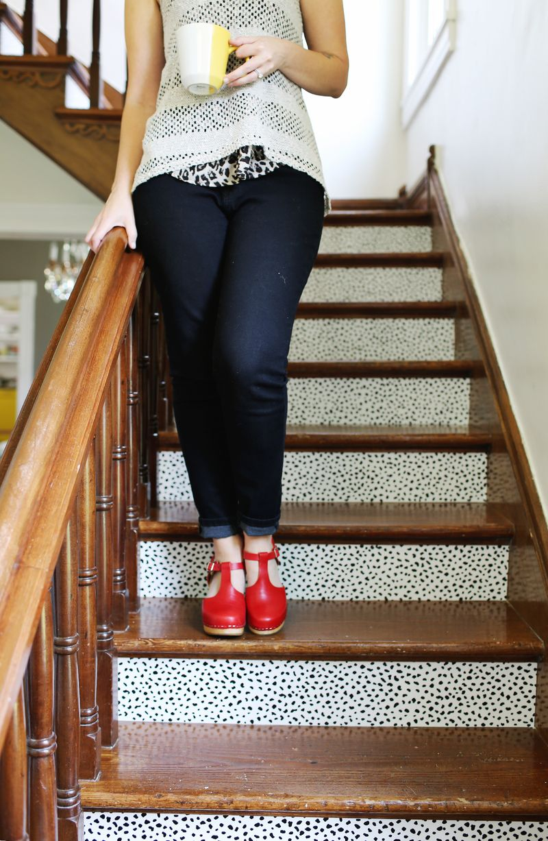 Customize stairs with removable wallpaper