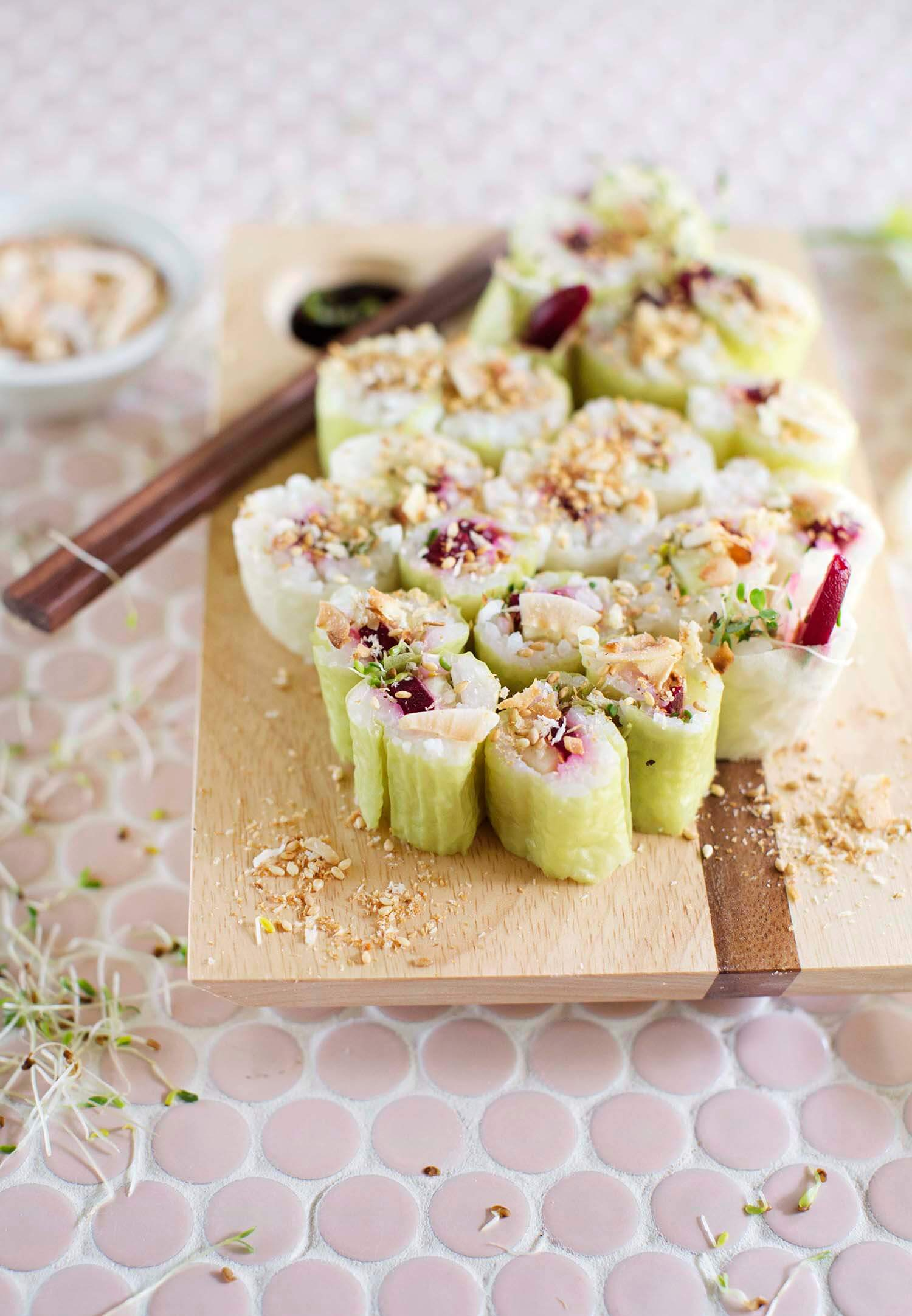 Crunchy beet and sprout sushi (via abeautifulmess.com)