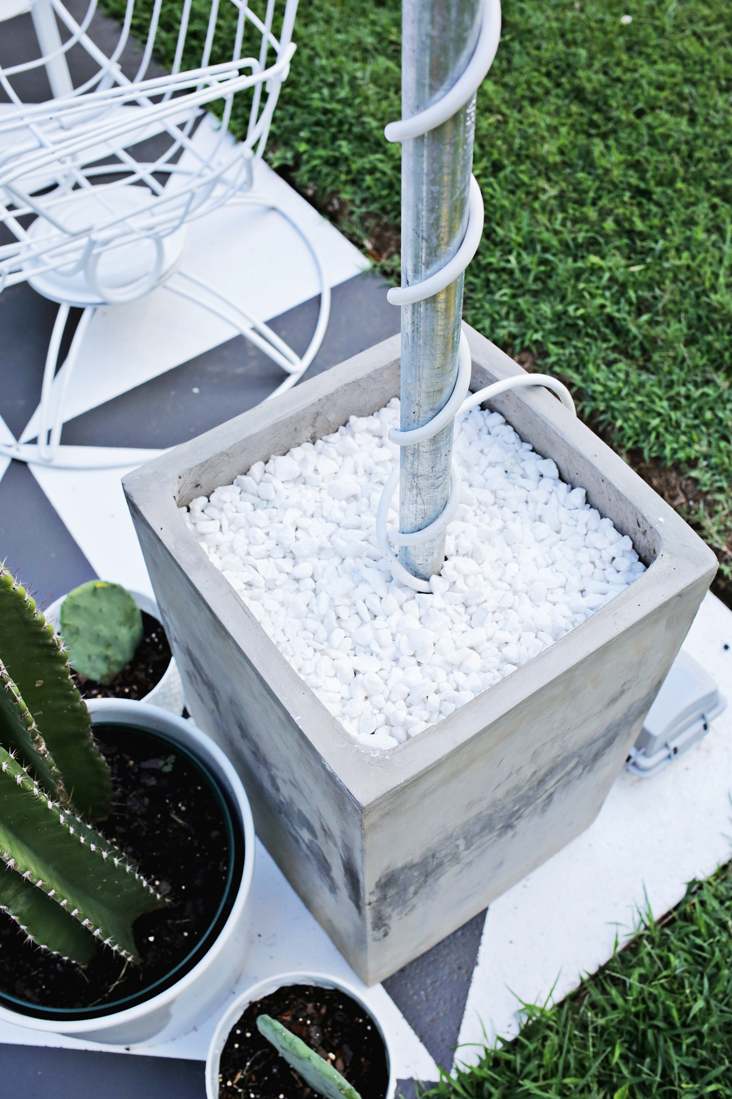 Small Cement Pole : Create outdoor patio lighting without a pergola renter