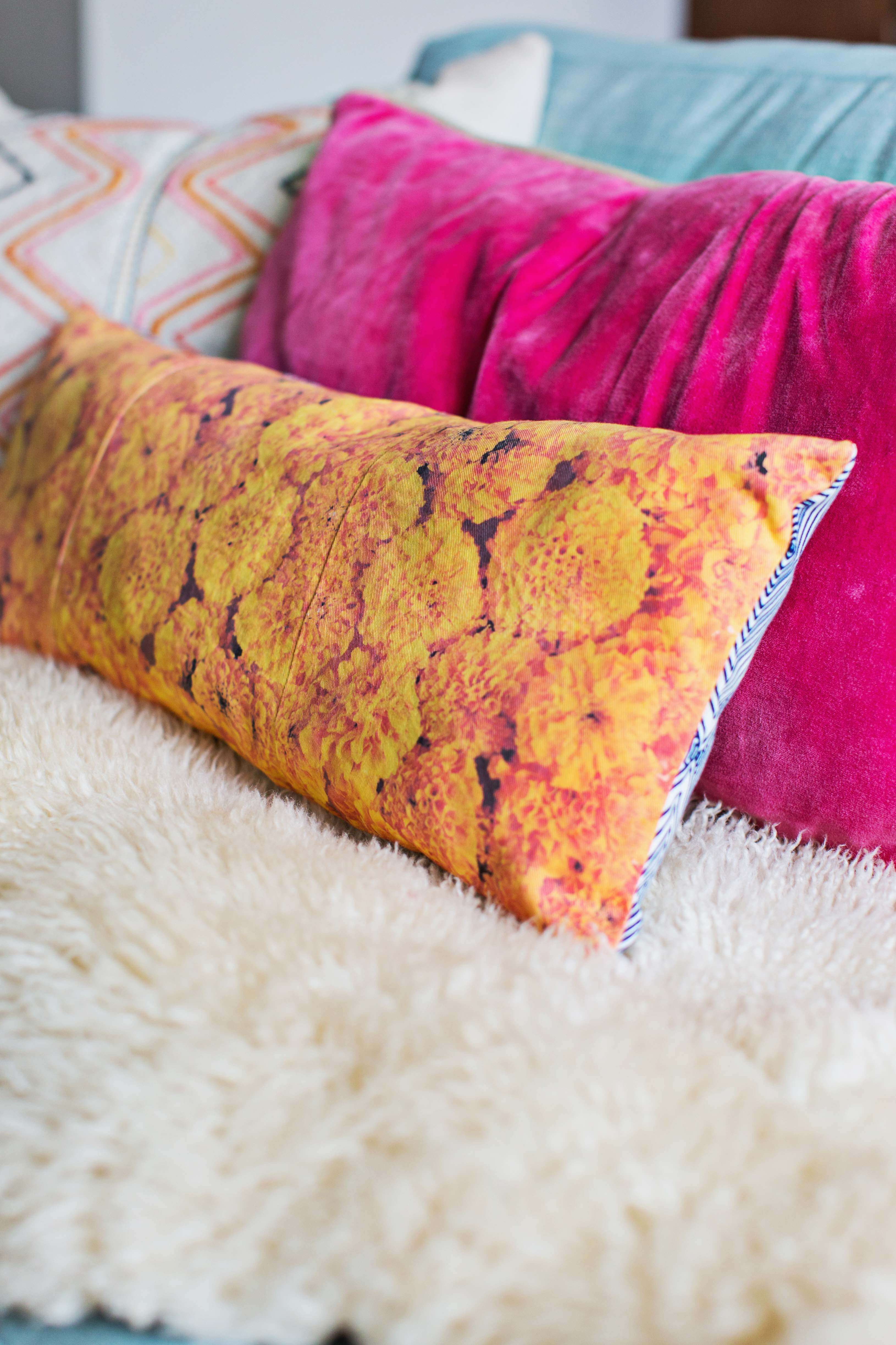 Vibrant floral photo pillow DIY