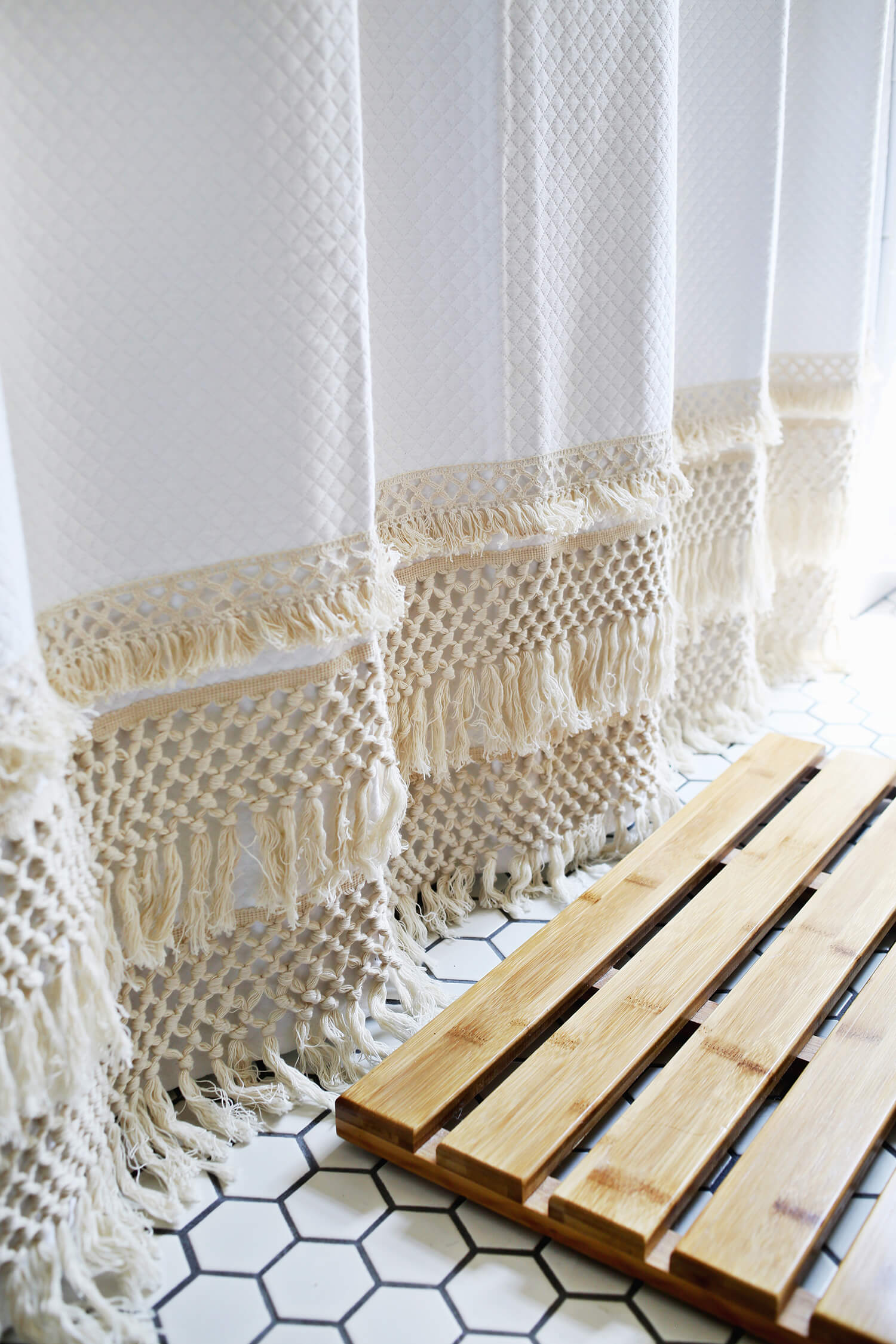 how to make macrame curtains macrame shower curtain diy a beautiful mess 2423