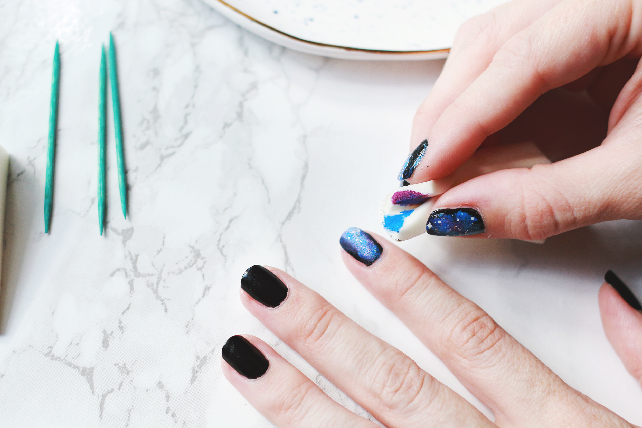Easy Galaxy Nails Mani DIY - A Beautiful Mess