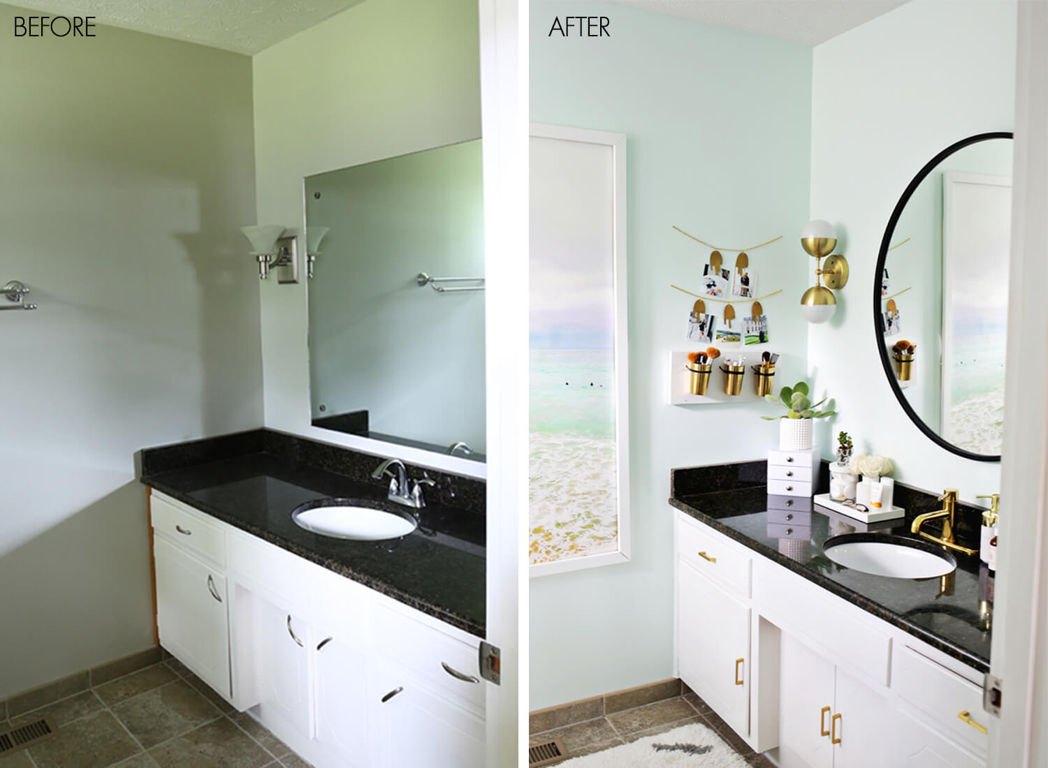 lauras master bathroom before after click through to see more - Bathroom Cabinets Before And After